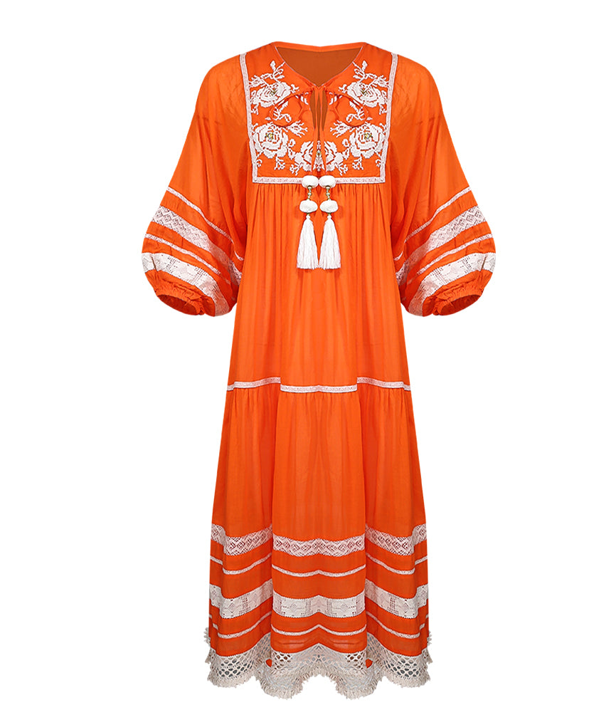 Orange Midi Robe Dress by Miss June