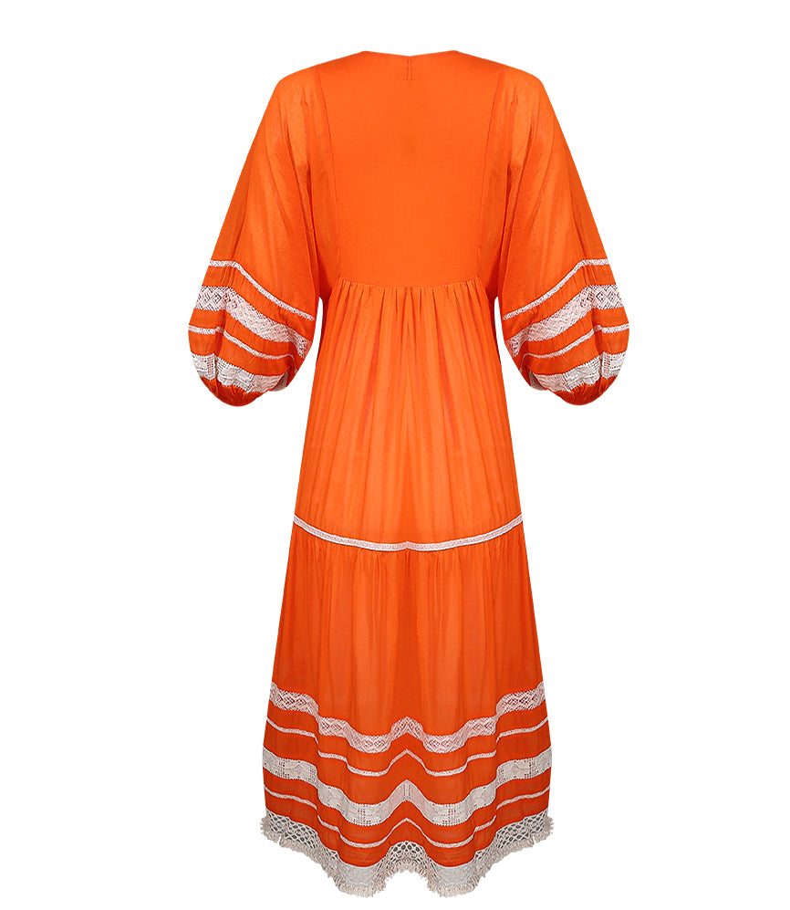 Midi Length Robe Dress In Bright Orange