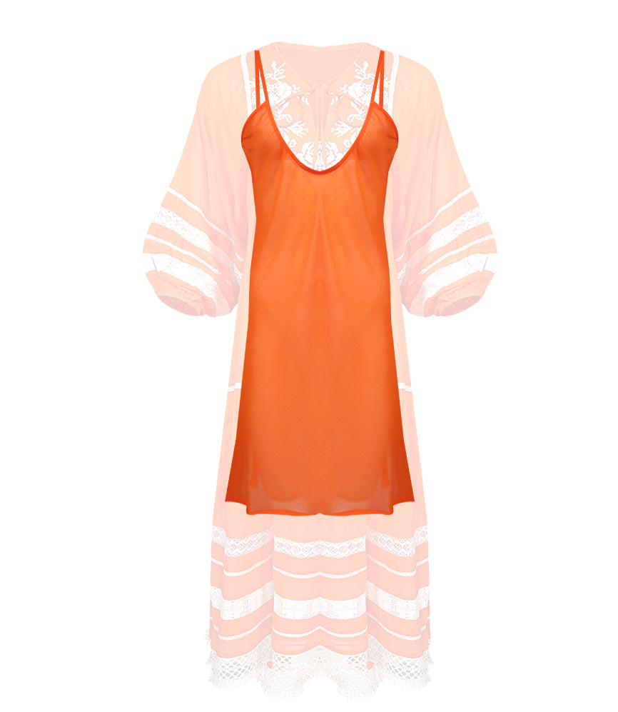Orange Robe Dress with slip