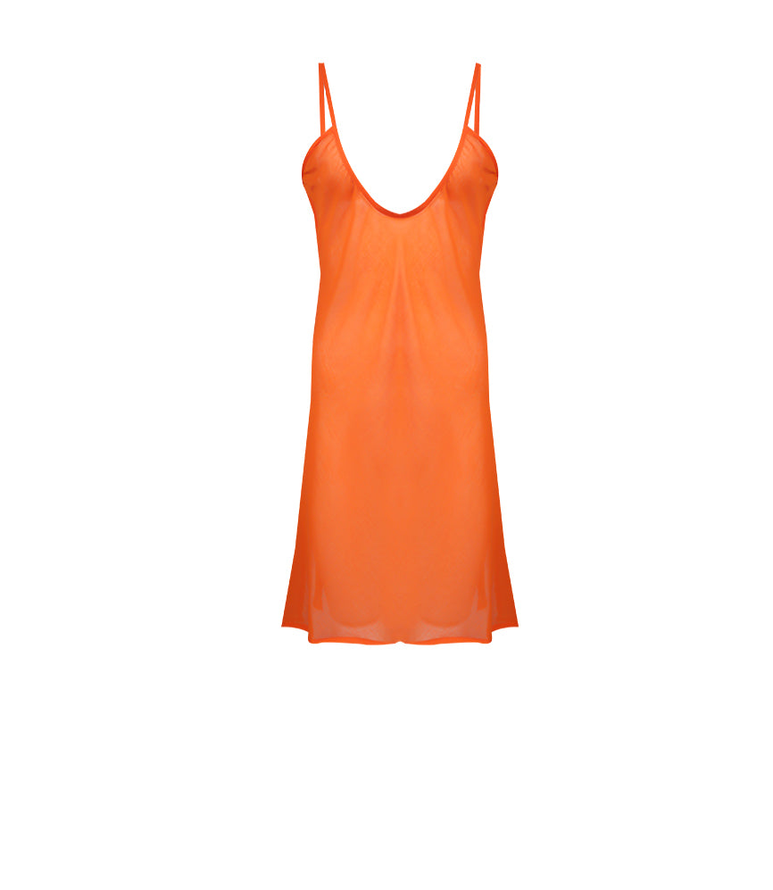 Orange Midi Dress with slip