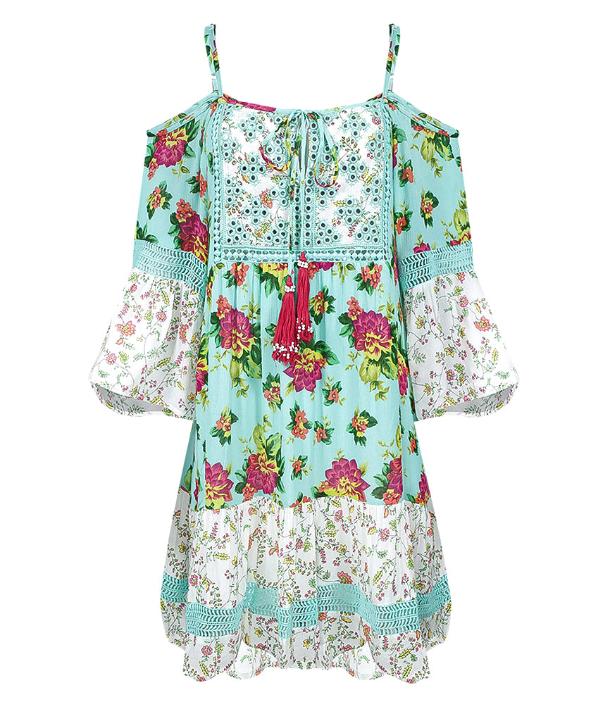 tropical mini dress in aqua | bohemian style |