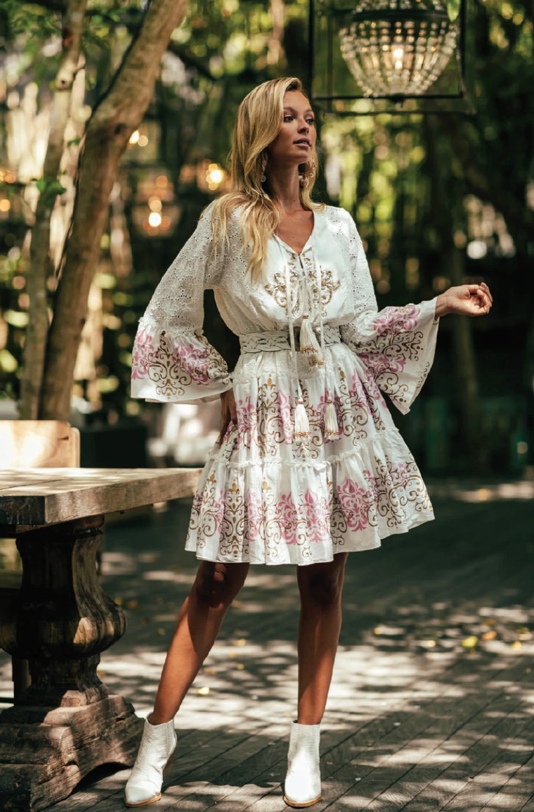 Dress Robe Dreamer White Pink