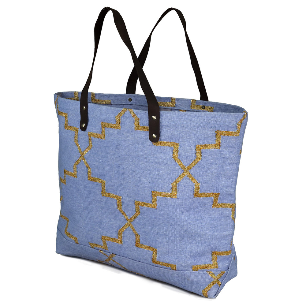 Moroccan Star Tote Bag Pale Blue