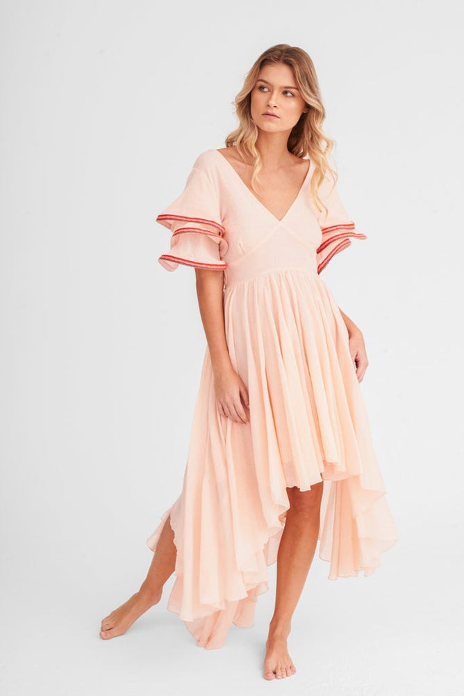 "woman wearing a ""pink high low dress	