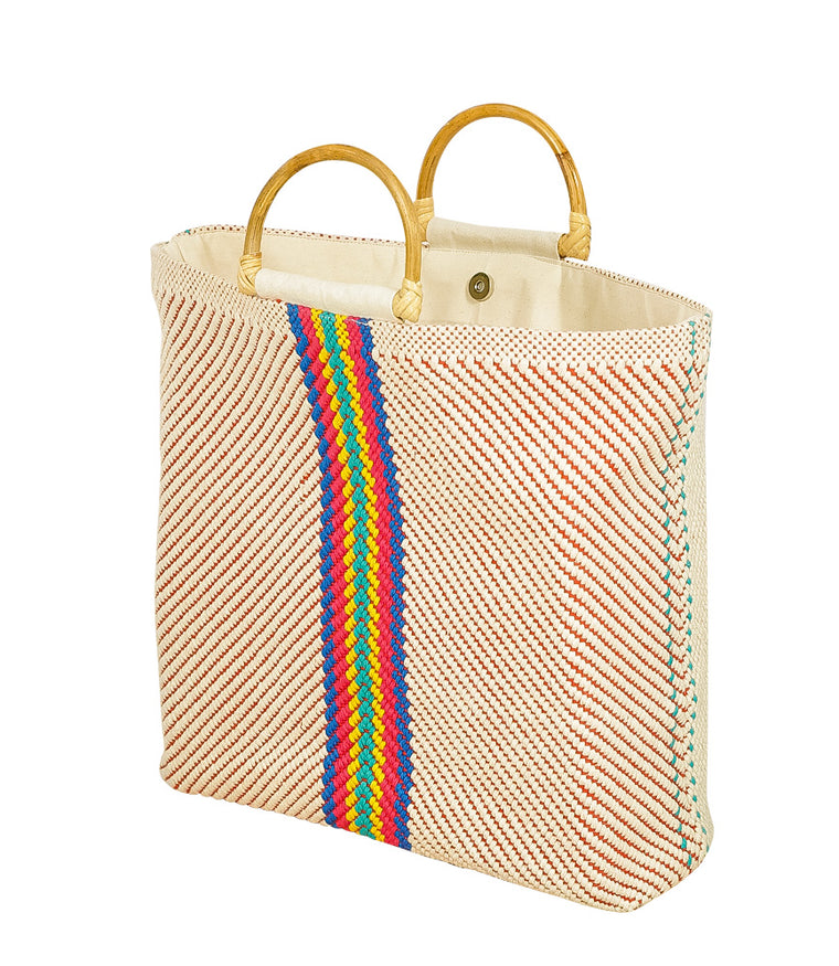 Fabric Tote Bag with Wooden Handles Multi