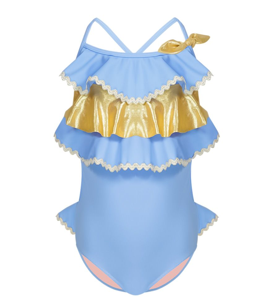 tween swimsuit with blue and gold ruffles