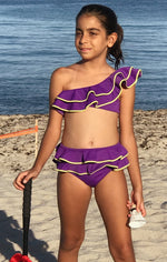 Nessi Byrd Flax One Shoulder Ruffle Bikini Purple