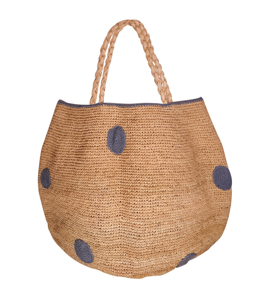 designer basket bag woven summer bag with grey dots