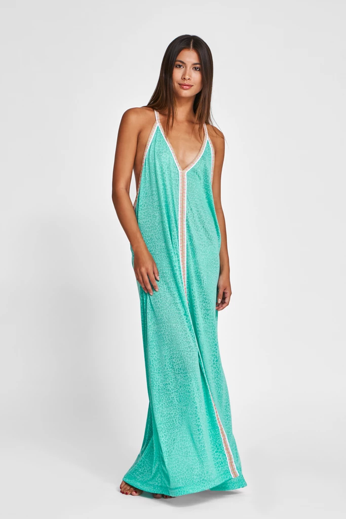 Cheetah Print Maxi Dress in Turquoise