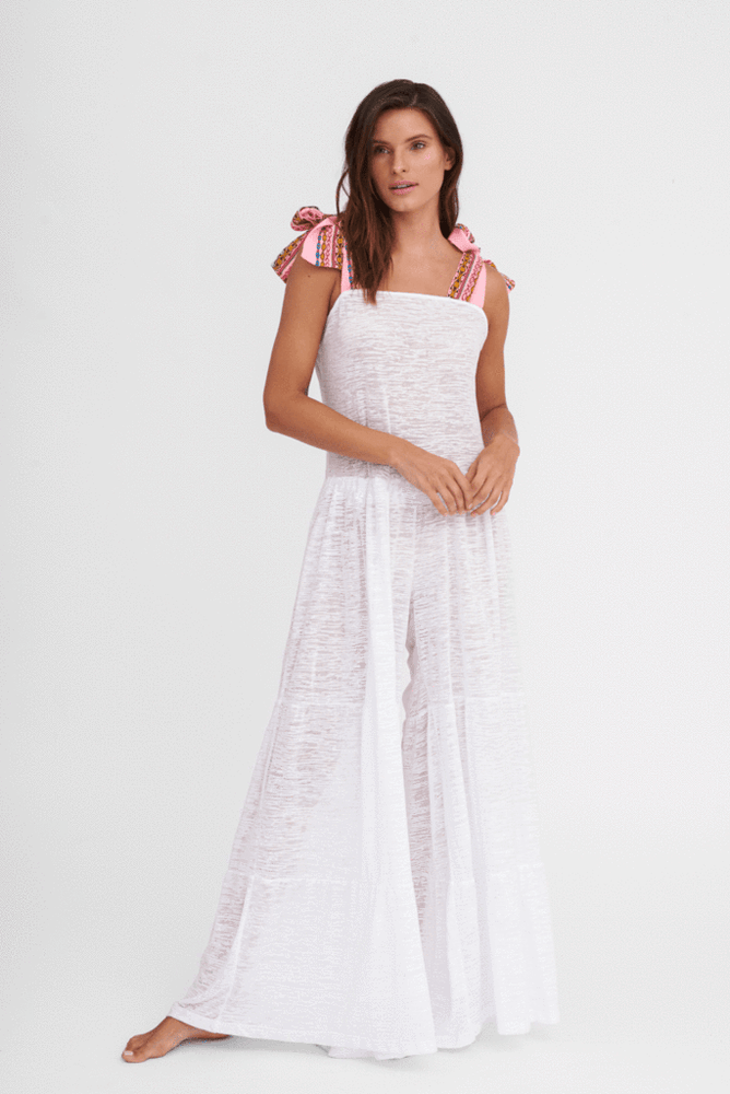 Pitusa white designer wide leg jumpsuit | Sand Dollar UK