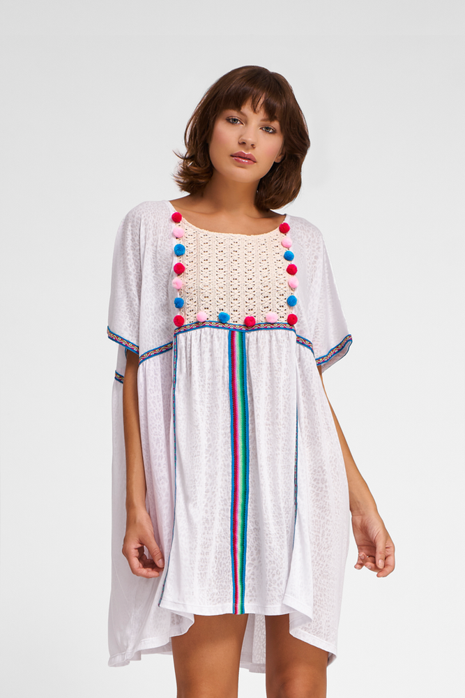 Loose Fit Gypsy Beach Dress in White