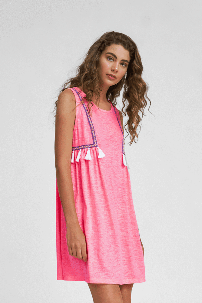 young woman wearing Pitusa Mini Cover Up in Pink | Mini Dress | Tank Dress