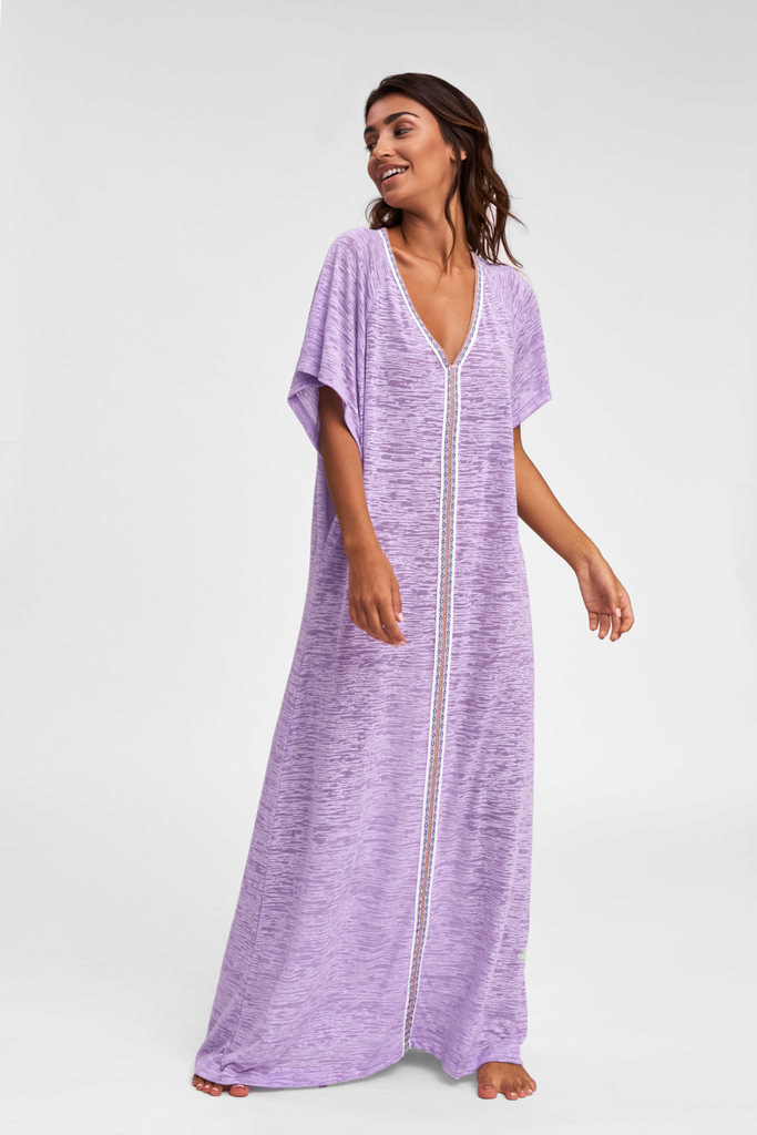 Designer Abaya Beach Cover Up in Purple