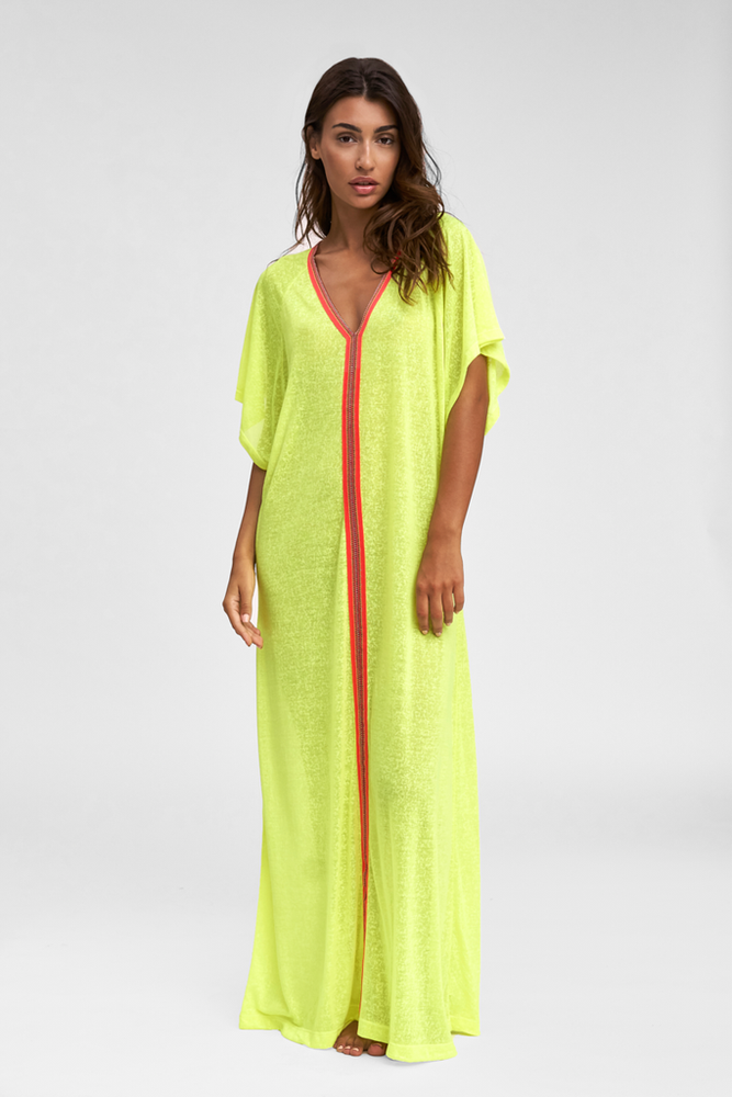 Loose Fit Abaya in Lemon Yellow | Beach Cover Up | Beach Dress