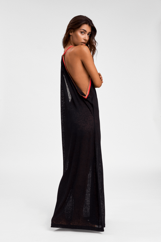 V Back Open Side Sun Dress in Black | Sand Dollar UK