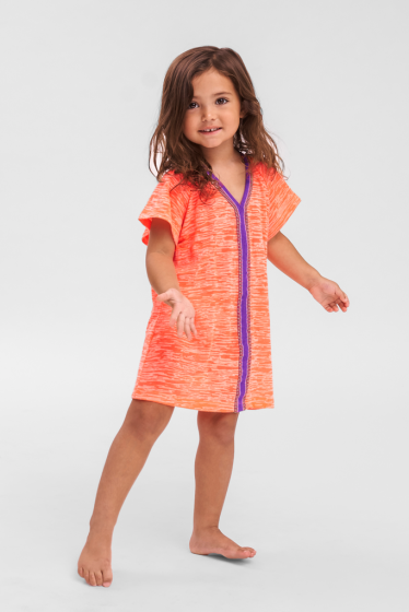 Kids Beach Cover Up in Coral Pink