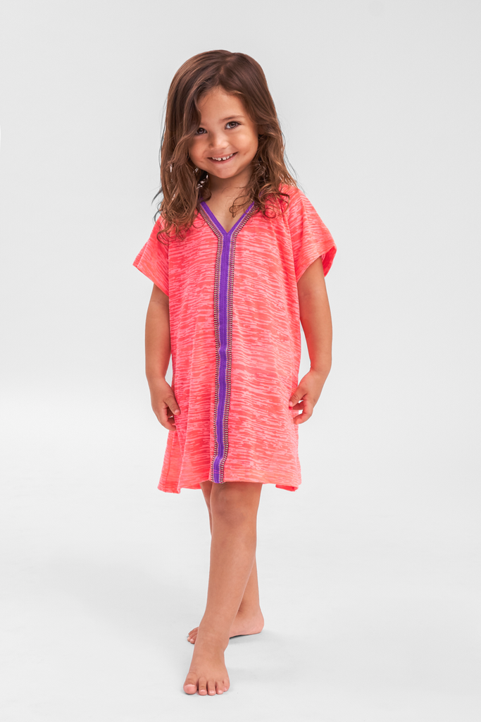 Little Girls Beach Cover Up in Hot Pink