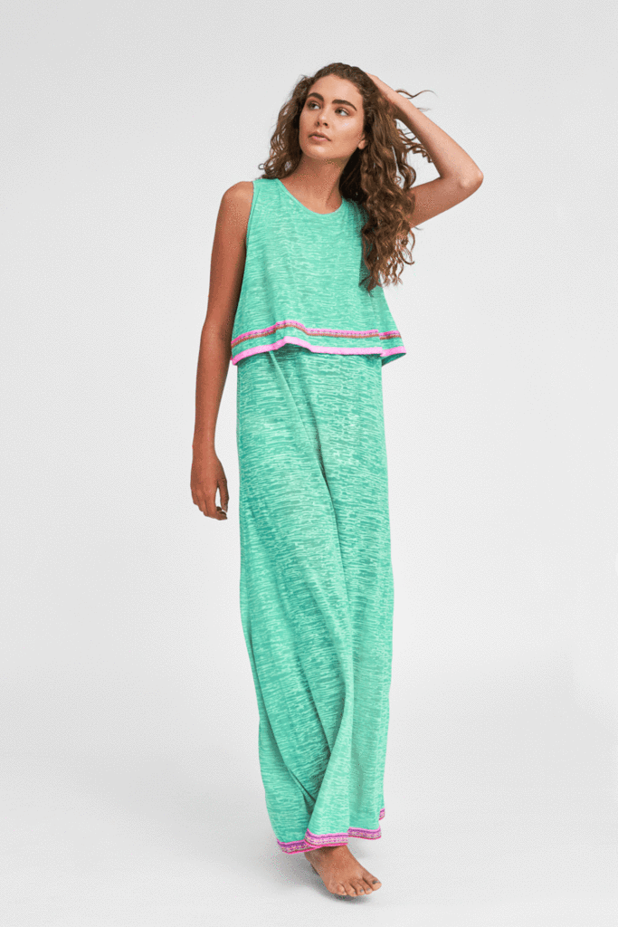 Two Tier Teal Maxi Dress