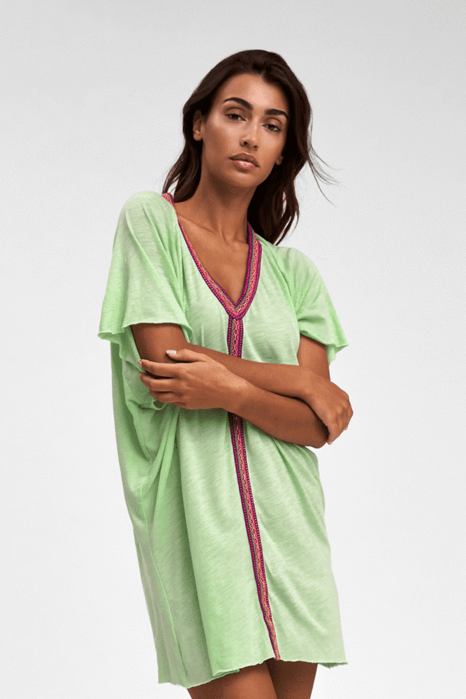 Pitusa Loose Mini Beach Dress in Green | Sand Dollar UK