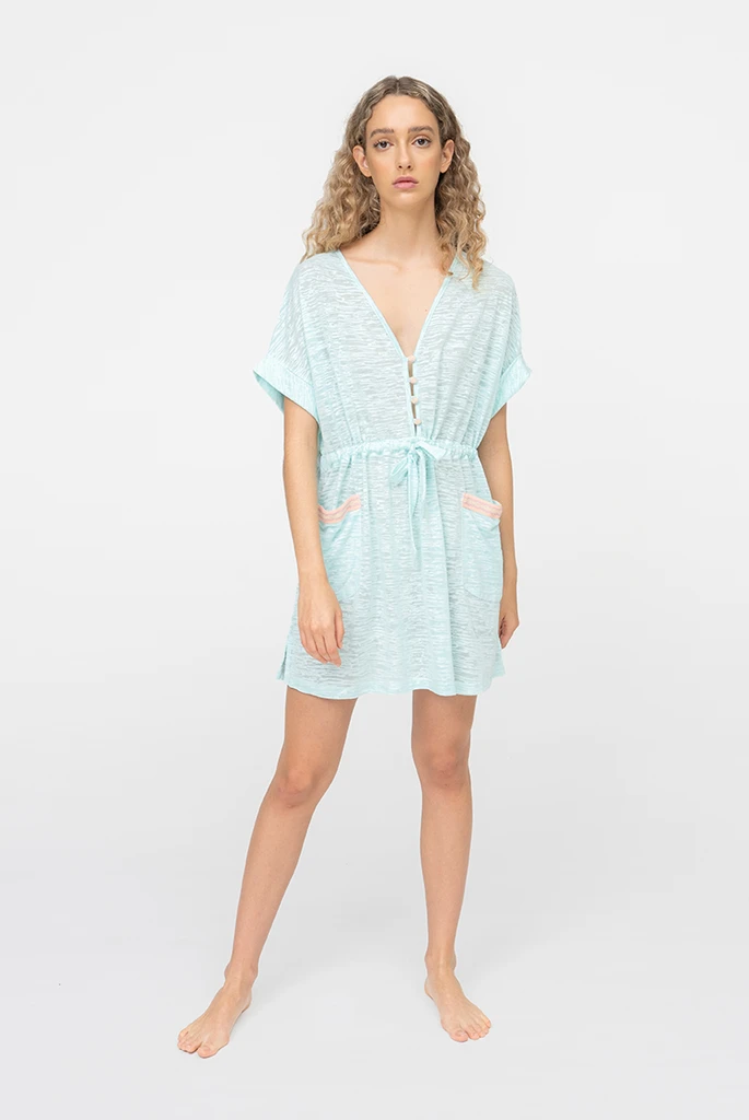 Pocket Mini Dress Aqua