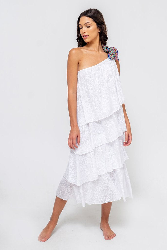 One Shoulder Bow Dress in White