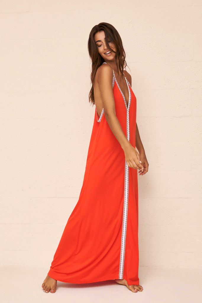 premium cotton beach dress in orange | Sand Dollar UK