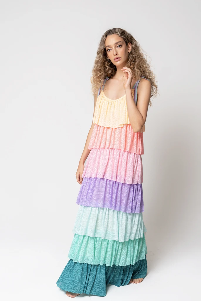 Rainbow Tiered Dress Pastel Rainbow