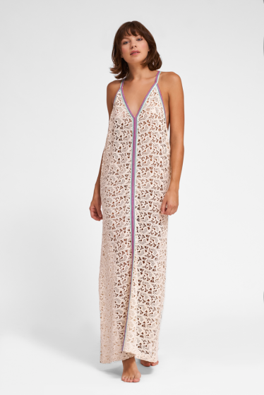 Crochet Maxi Dress in Beige