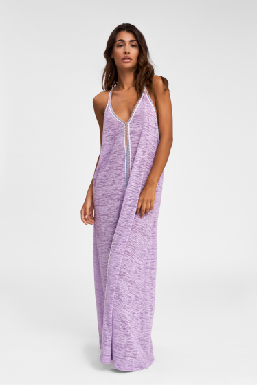 woman wearing Plunge V Neck Beach Cover Up in Lavender Purple