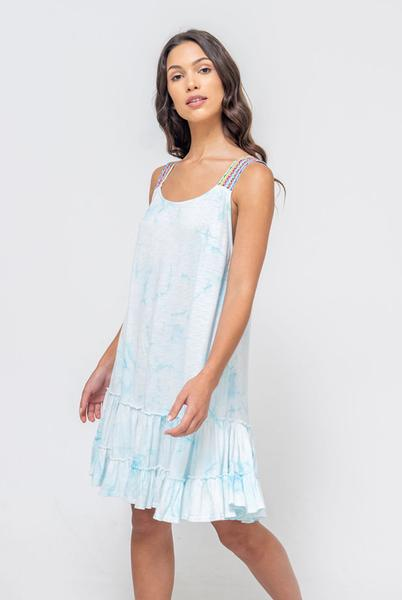 Tie Dye Gathered Mini Dress in Light Blue