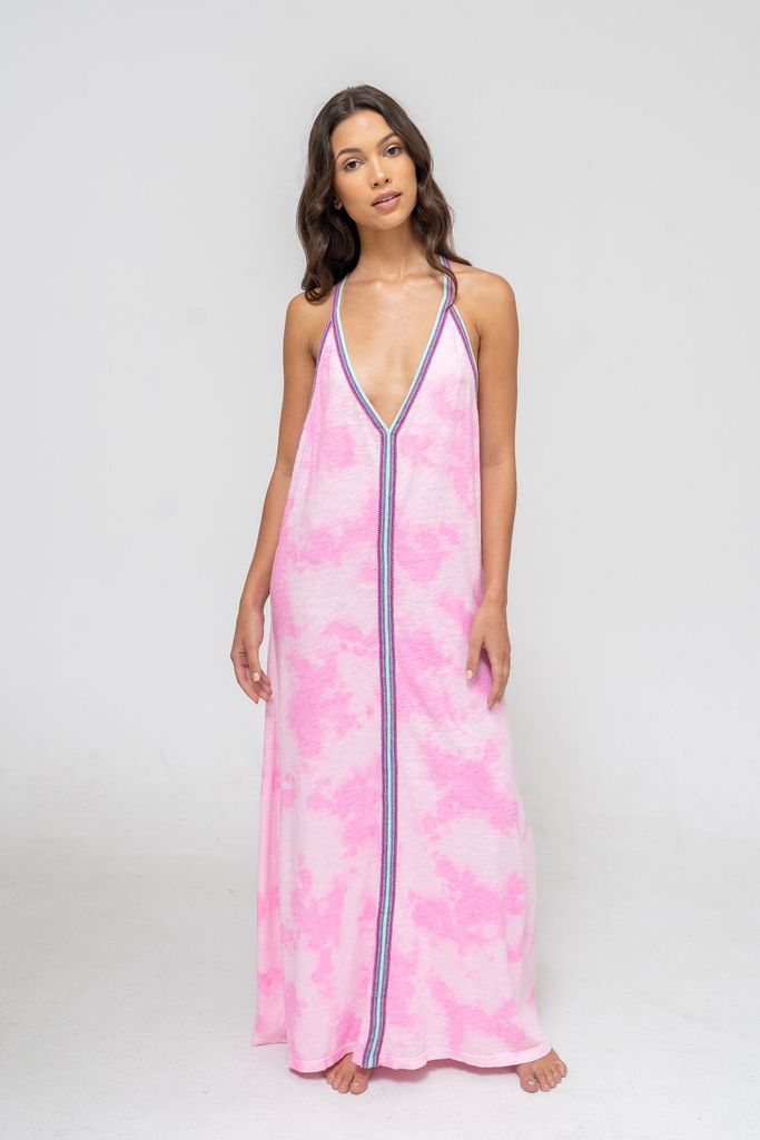 Tie Dye Sun Dress in Bubblegum Pink