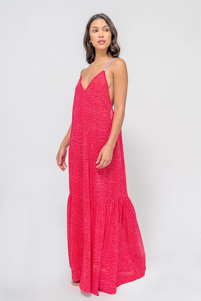V Back Maxi Dress in Raspberry