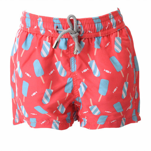 Mens Red Printed Swim Shorts  | Sand Dollar UK