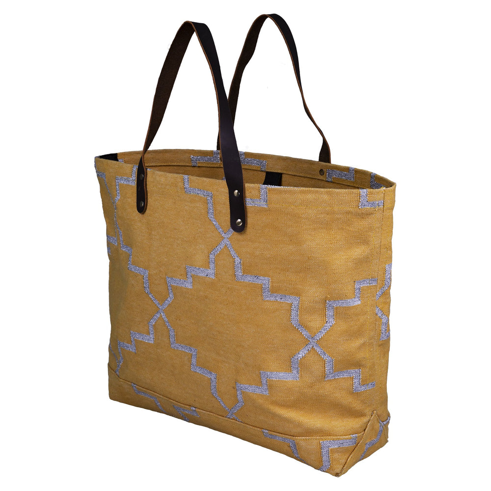 Pushpanjali Durable Dhurrie Rug Cotton Beach Tote Bag