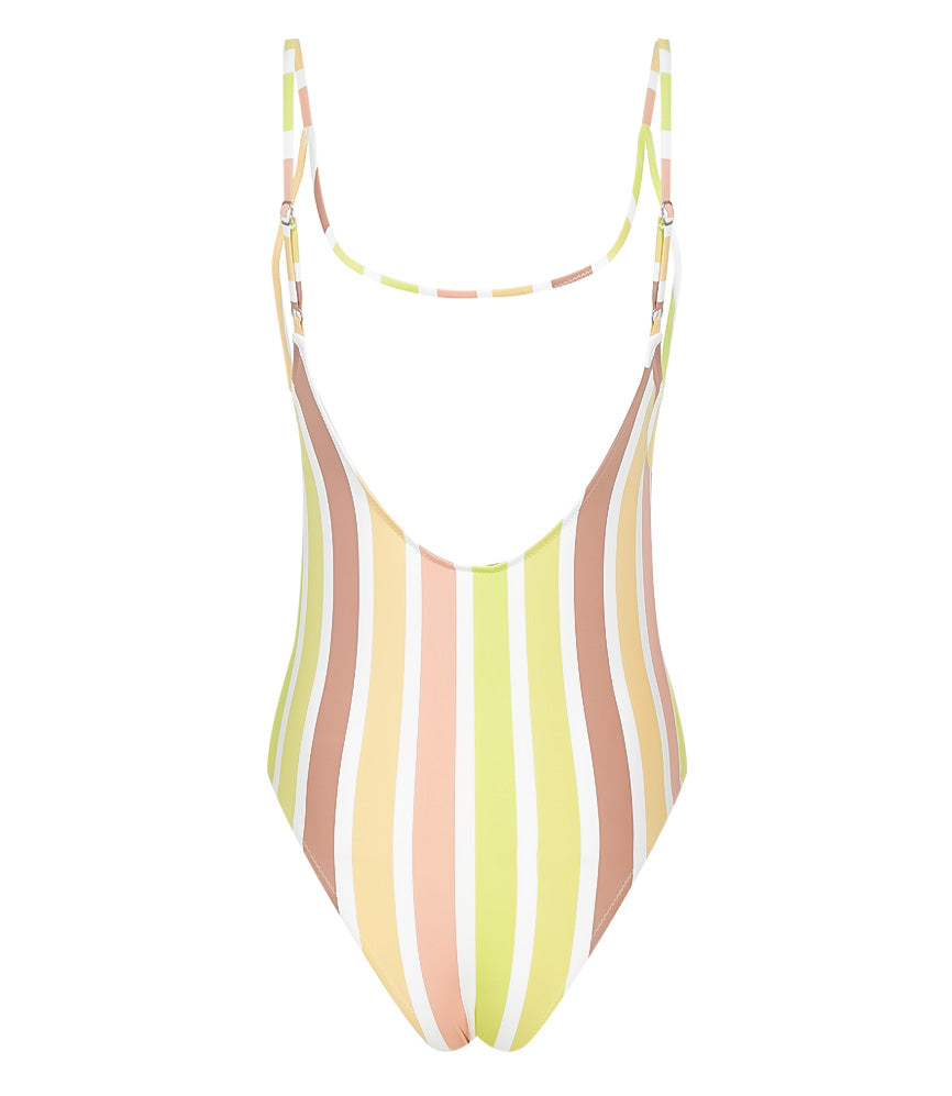 vertical striped one piece swimsuit