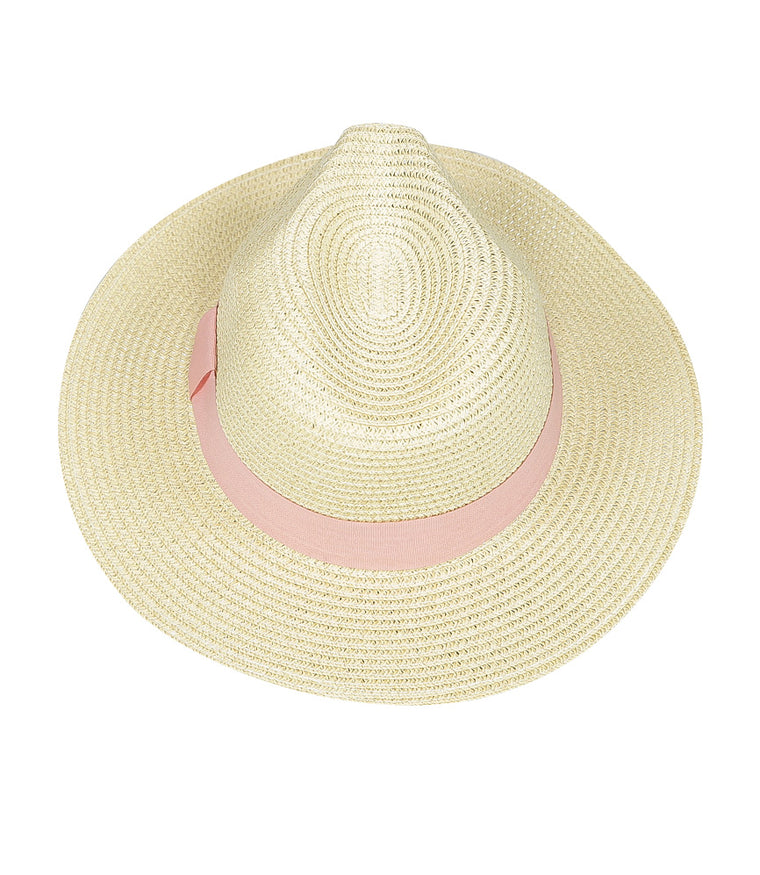 Panama Hat Beige With Blush Band