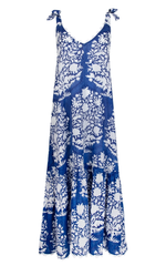 V Neck Maxi Dress in Palladio Block Print Blue