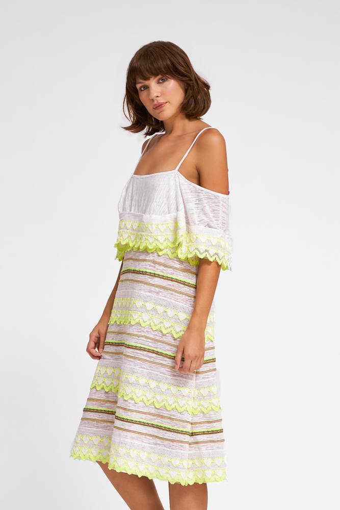 woman wearing off shoulder summer dress in white