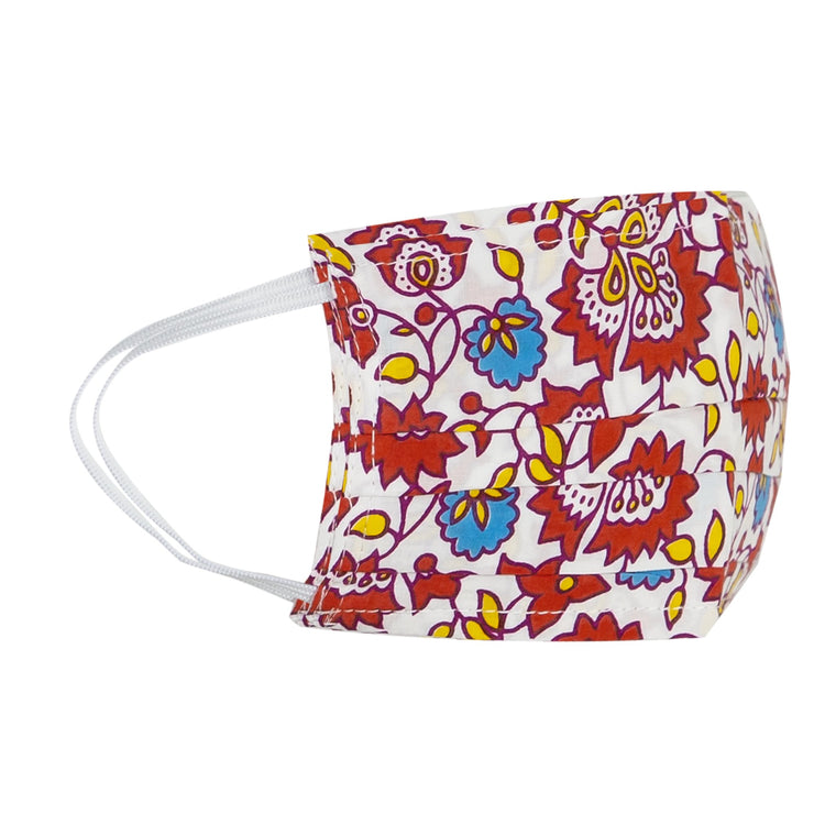 Face Mask Adult Floral Red And White