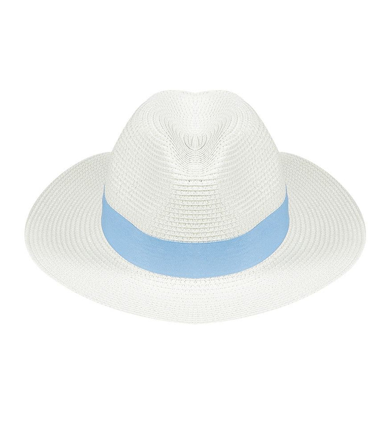 Ladies White Panama Hat with Blue Band