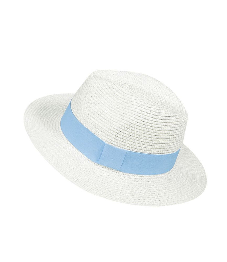 White Panama Hat with Blue Band | SD Select | Sand Dollar UK
