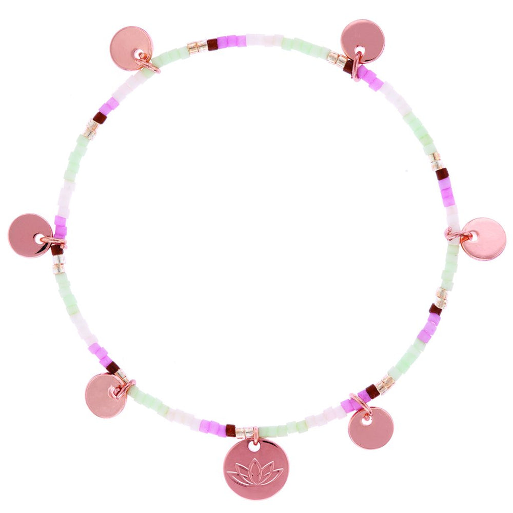rose gold disc bracelet with multicolour beads