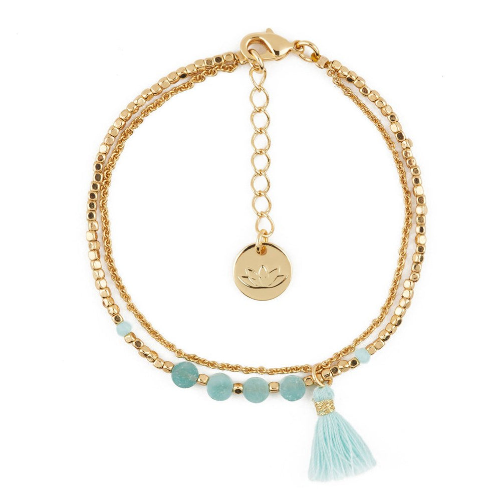 Semi Precious Stone Bracelet in Aqua | Sand Dollar UK