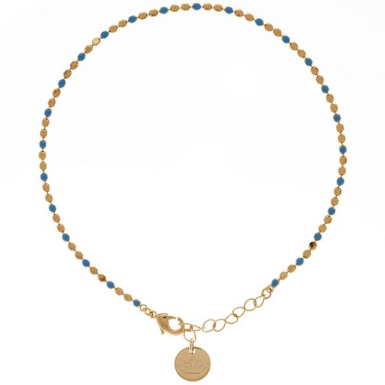 womens blue and gold anklet
