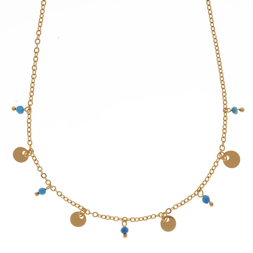 Dangling Gold & Turquoise Necklace | Mini Disc Necklace | Sand Dollar UK