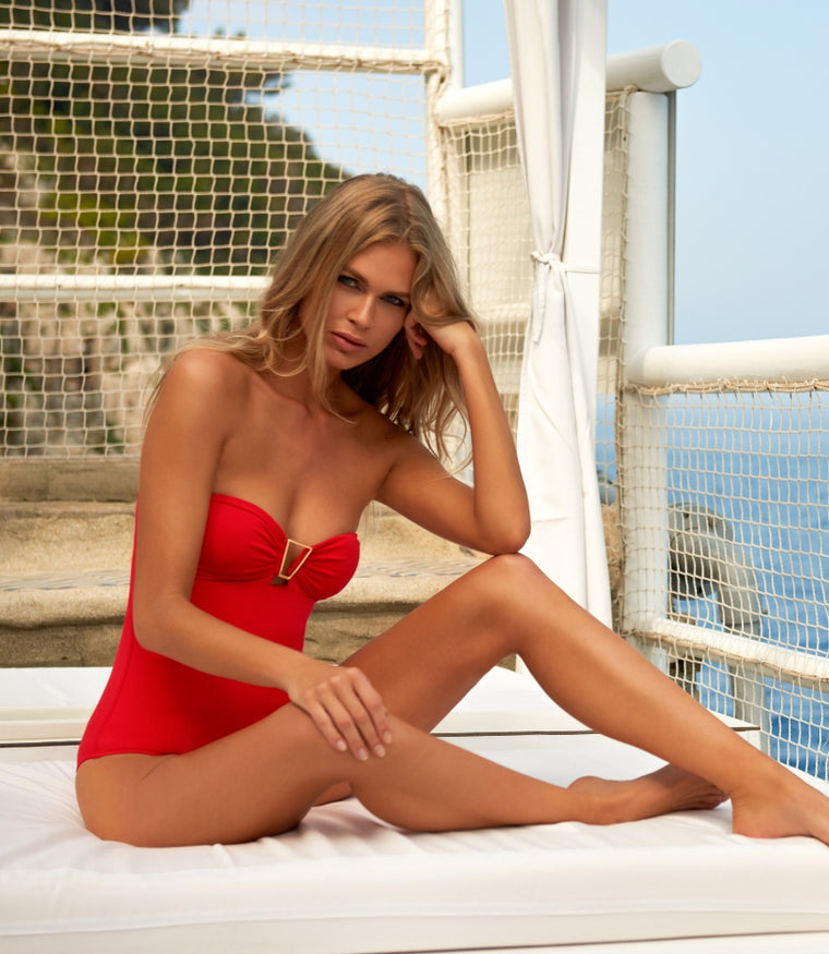 Melissa Odabash Argentina Bandeau U-Ring One Piece Red