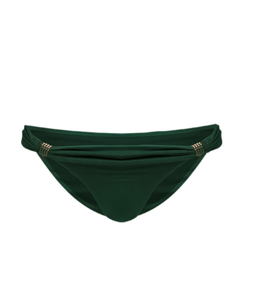 dark green bikini bottoms with gold trim