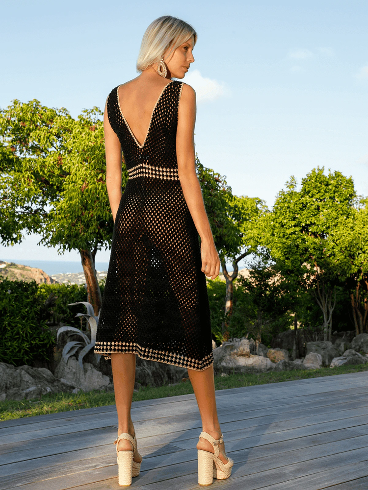 Crochet A Line Dress Black