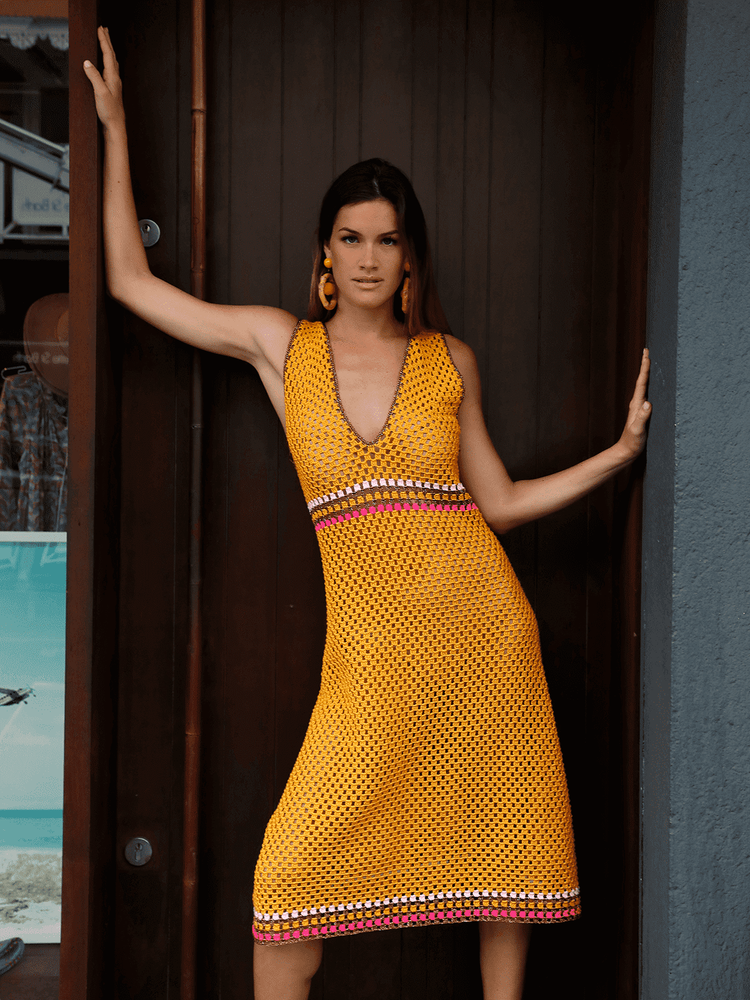 Crochet A Line Dress Orange