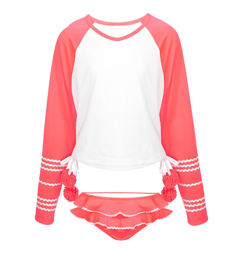 Girls Rash Vest Set with Pink Ruffles